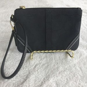 Coach Wristlet with Sig C Canvas and Leather Trim